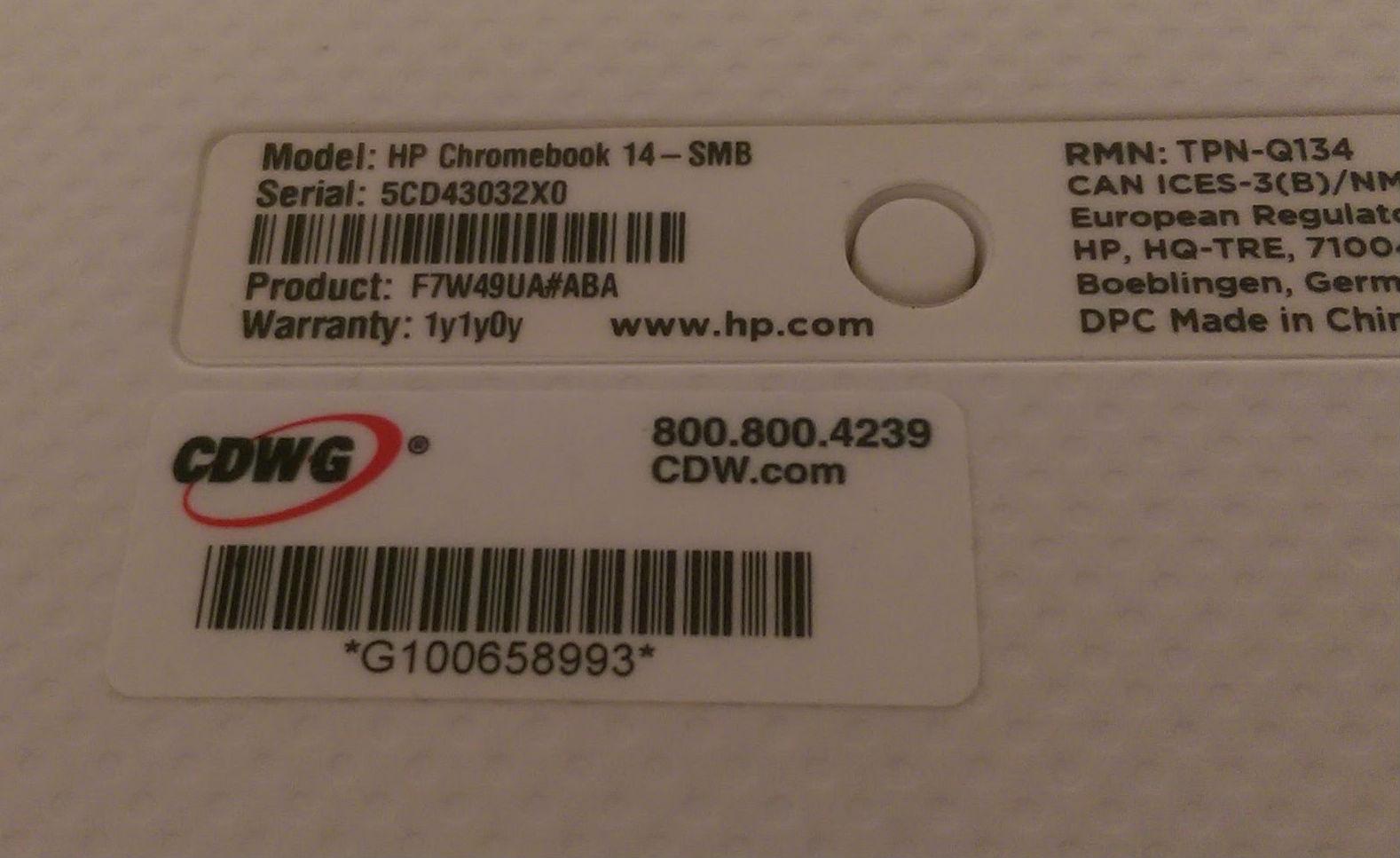 find serial number on hp chromebook