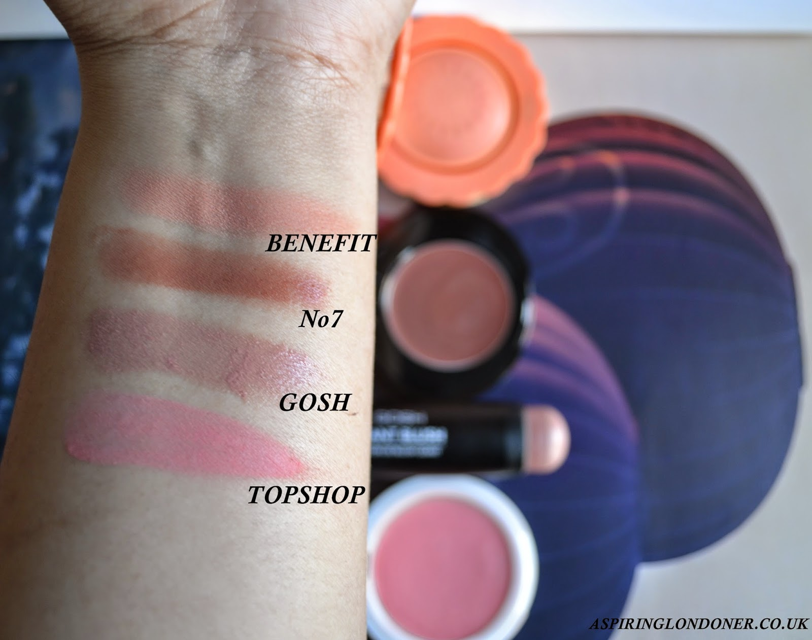 Cream Blushers ft. Benefit Majorette, No7 Maple Silk, GOSH Shy, Topshop Head Over Heels Swatches - Aspiring Londoner