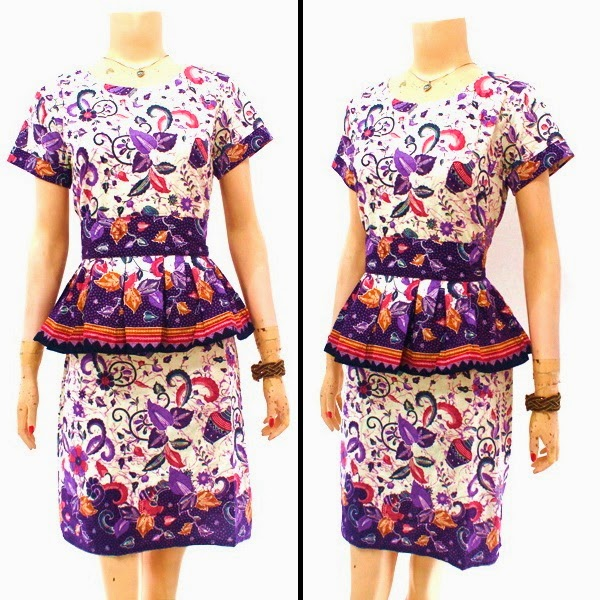 DB3828 Model Baju Dress Batik Modern Terbaru 2014