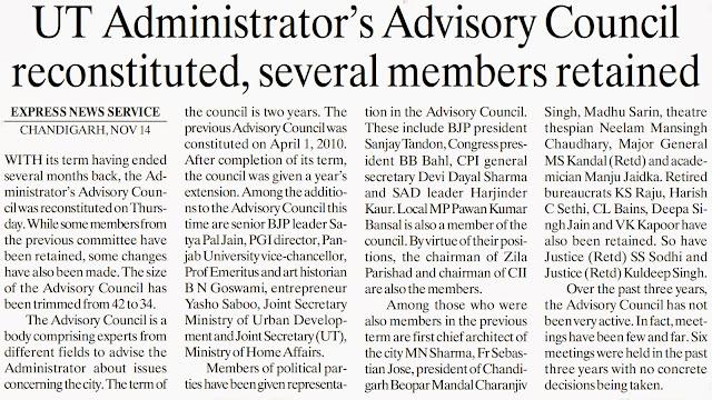 Senior BJP leader Satya Pal Jain nominated to Chandigarh Administrator's Advisory Council