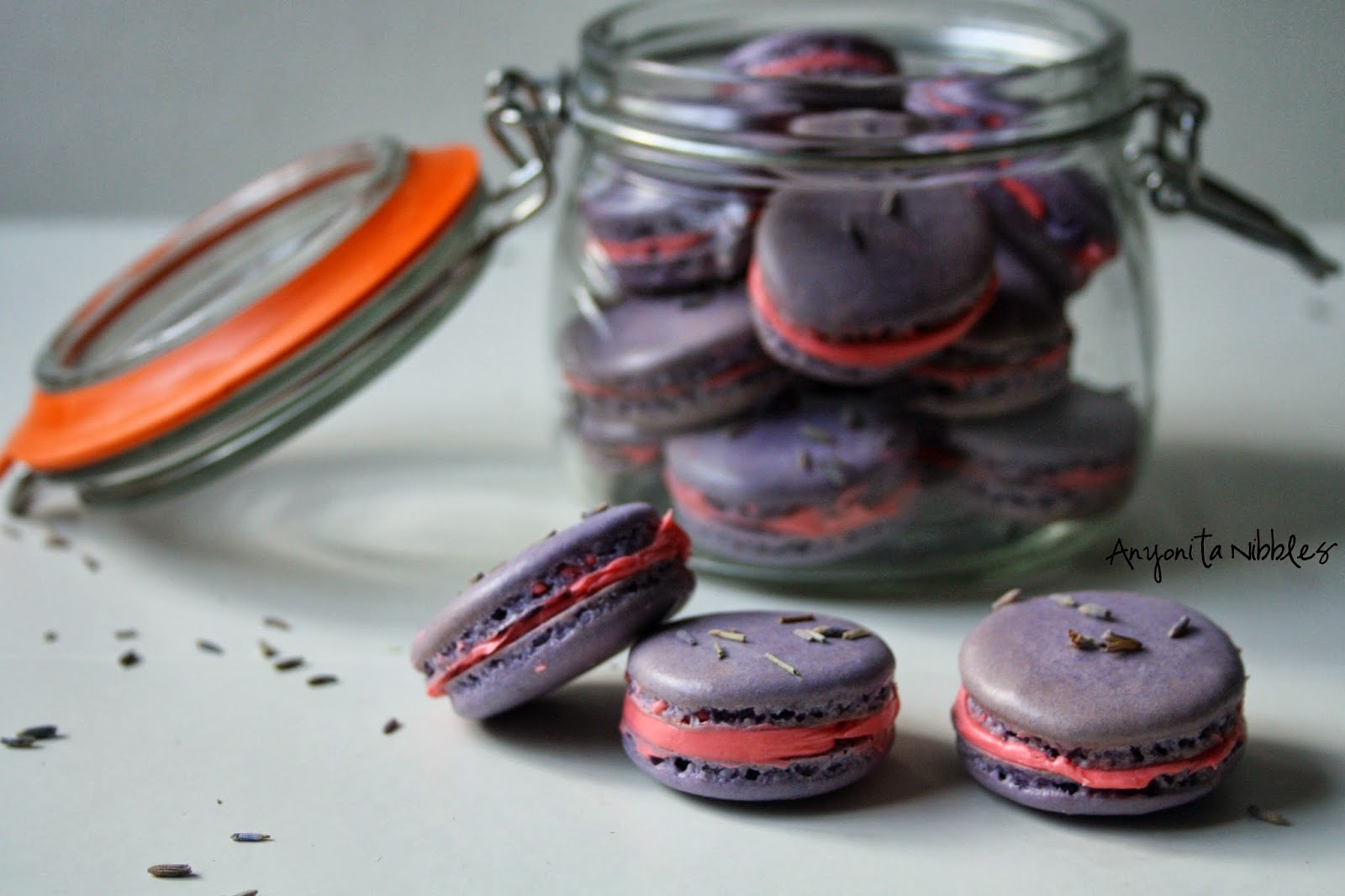 Three lavender and rose #French #macarons ready to eat from @anyonita