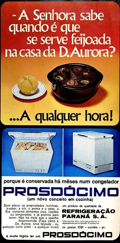 Congelador Prosdócimo - mulher e feijoada - Anos 70. Propaganda machista.
