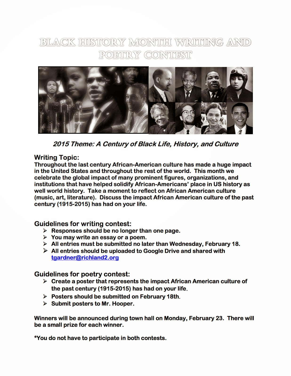 black essay contest The frederick douglass prize in us history essay contest 2015-2016 $5,000 for your history paper enter your essay to win the prize pioneer institute is pleased to.