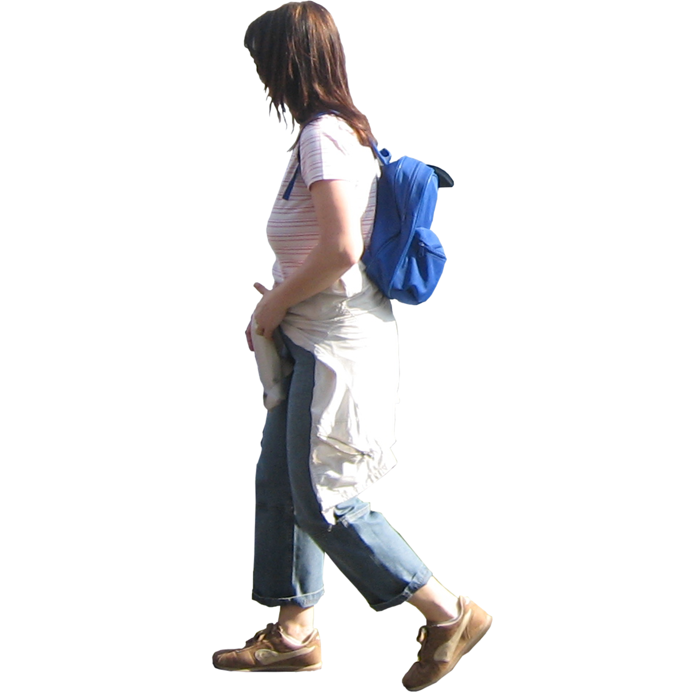 Immediate Entourage: Woman Walking with Backpack Running Horse Png