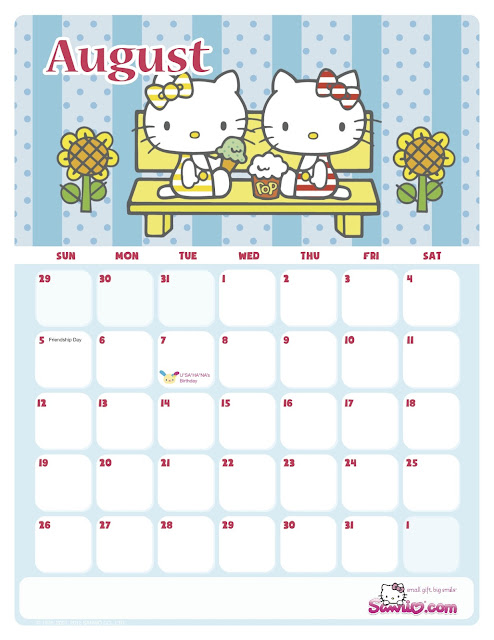 """Hello Kitty Monthly Calendar : Search results for """"sanrio august calendar"""