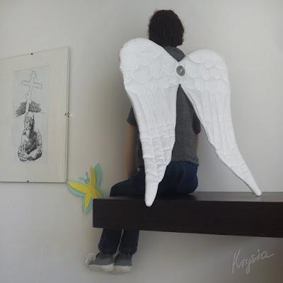 Krysia to uszyła - anioł stróż tilda z dużymi skrzydłami