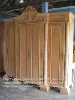 Klasik furniture almari pakaian klasik 4 pintu kayu mahoni alamari pakaian ukir klasik alamari pakaian ukir jepara supplier almari pakaian  klasik mentah unfinished mahoni