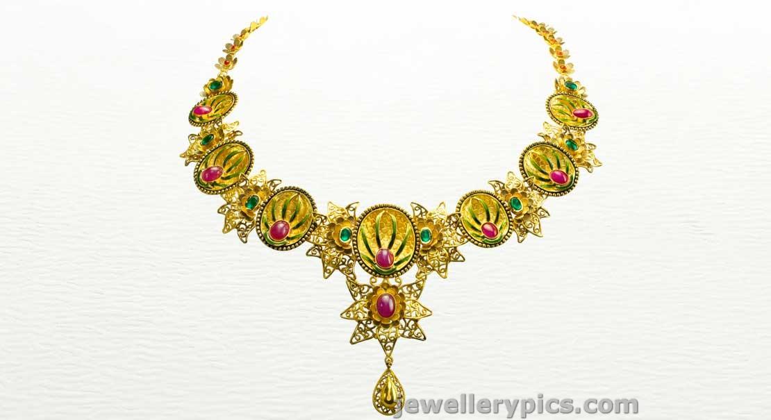 Azva Gold Choker Designer Necklace Models Latest