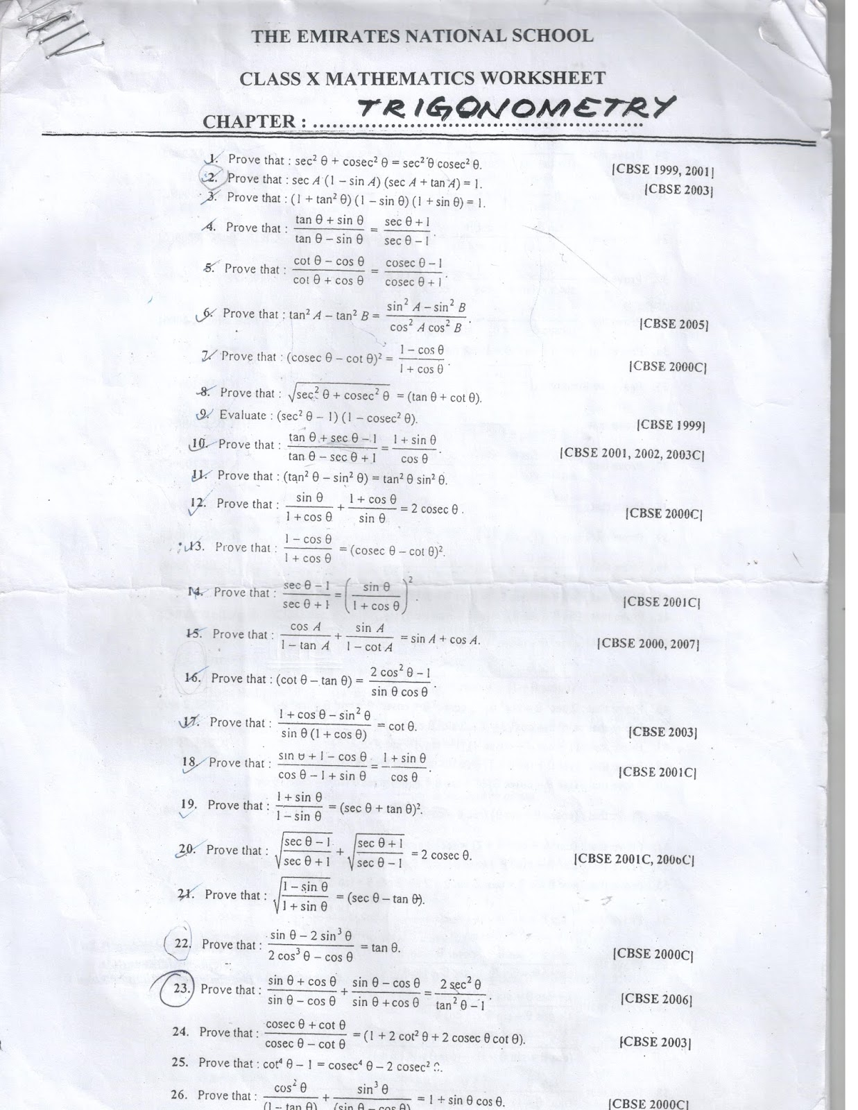 Prajam Math Genius A CHALLENGE IN TRIGONOMETRIC IDENTITIES Class 10 – Trig Identities Worksheet