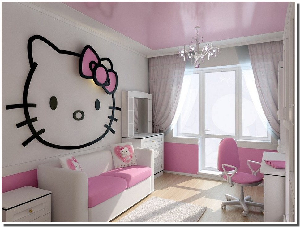 Nassima home chambre fillette d cor hello kitty for Chambre a coucher hello kitty