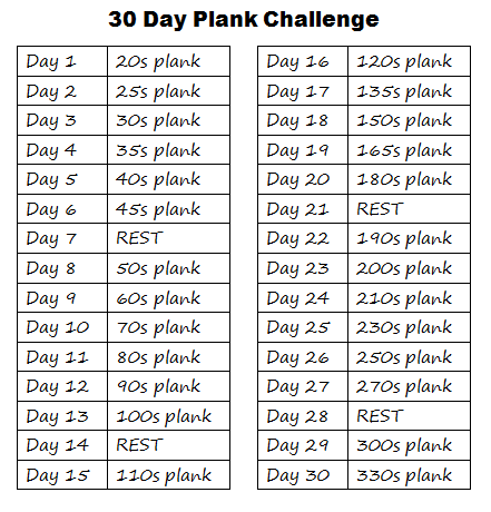 Window to my world 30 day challenges for Plank workout results