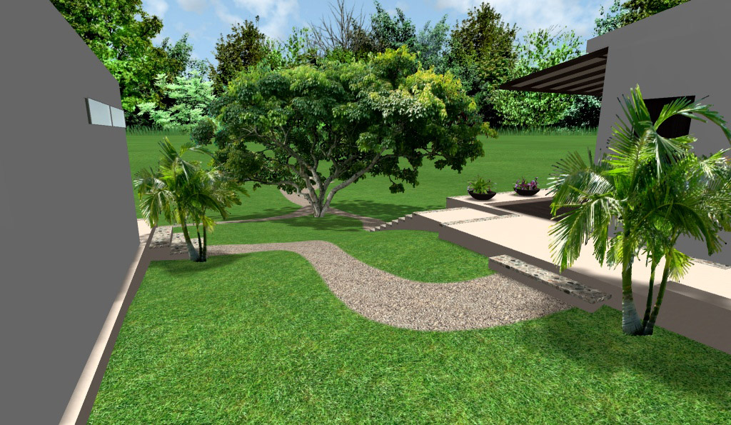 diseño de casas modernas, renders 3D de exteriores, sendero entre las casas