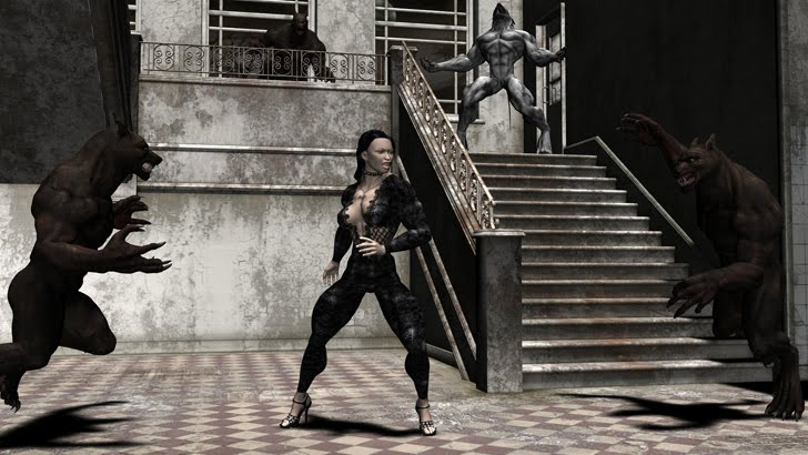 A 3D Rendering Of A Muscular Female Fighting Werewolves By Plinius
