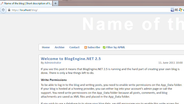 Blog Engine.Net Installed sucesssfully