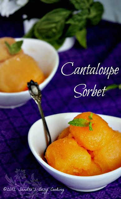 Cantaloupe Sorbet - SANDRA'S EASY COOKING