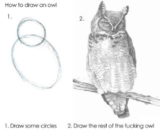 How to draw an owl: 1. Draw some circles. 2. Draw the rest of the fucking owl.