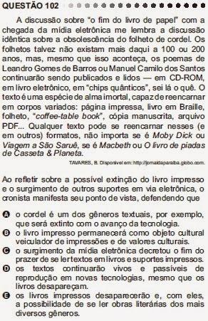 ANÁLISE - ENEM 2011 - QUESTÃO 102 - PROVA CINZA