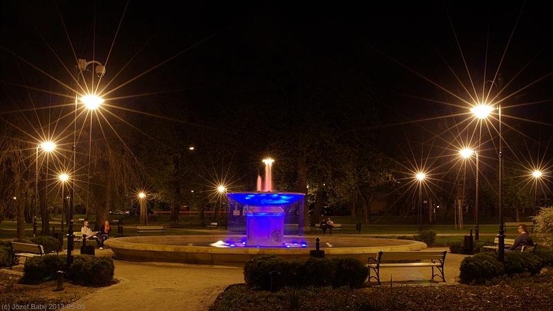 Fontanna na Skwerze Niepodległości w Puławach nocą