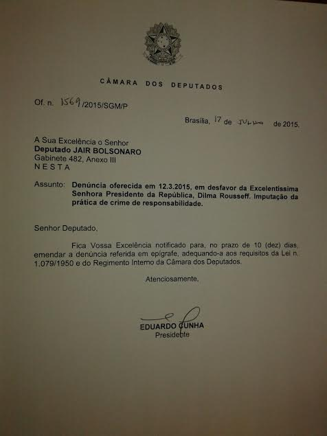 Cunha libera 11 ofícios de impeachment