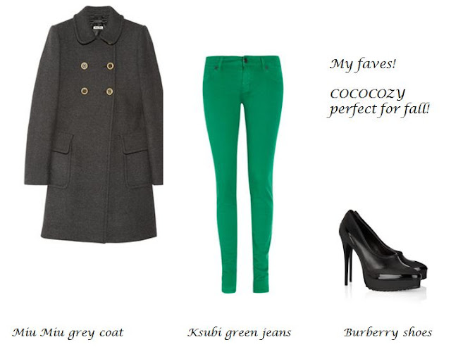 Perfect for fall! A grey Miu Miu coat, green Ksubi jeans and Burberry heels