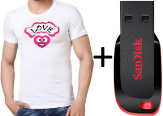 Buy Pack of 5 Cotton Men's T-Shirt + 8GB Sandisk Pendrive at Rs. 449  only
