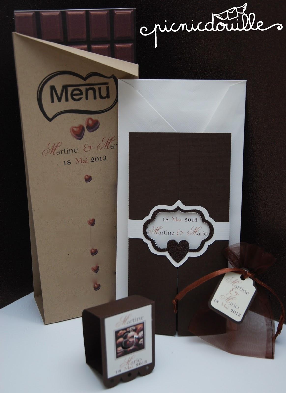 Top Faire-part de mariage thème chocolat WL91