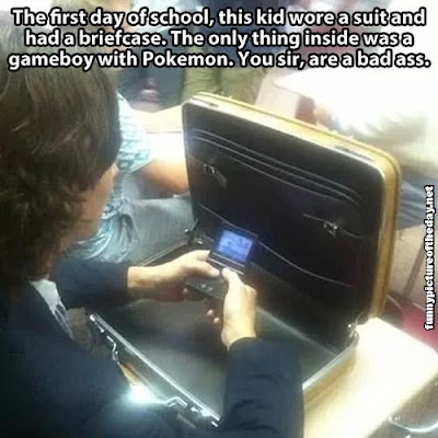 Funny First Day Of School Gameboy Pokemon Briefcase Student Wearing Suit