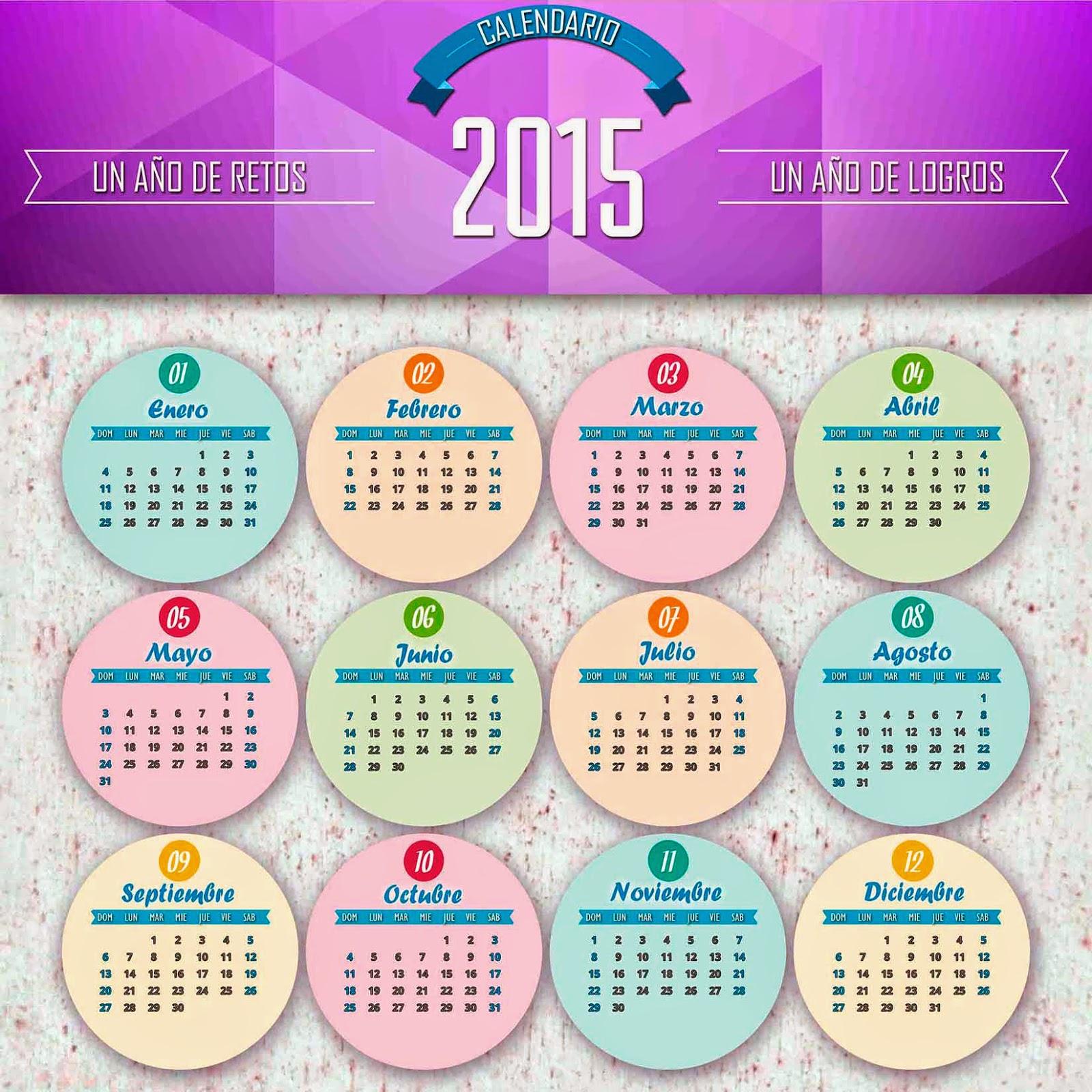Calendario 2015 sobre lunetas de colores
