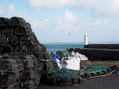 Light beacon at Mevagissey Harbour Cornwall