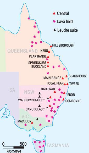 Map of volcano activity on the east coast of Australia