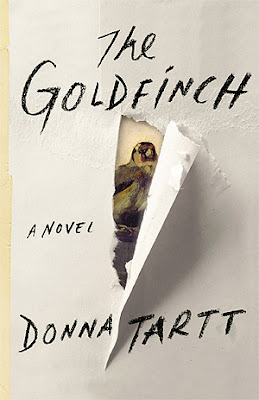 The Goldfinch, A novel by Donna Tartt, showing a bird peeking through a torn bit of paper