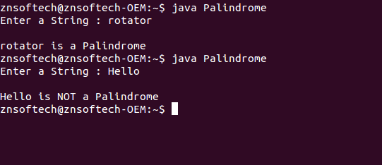 Java program for Palindrome