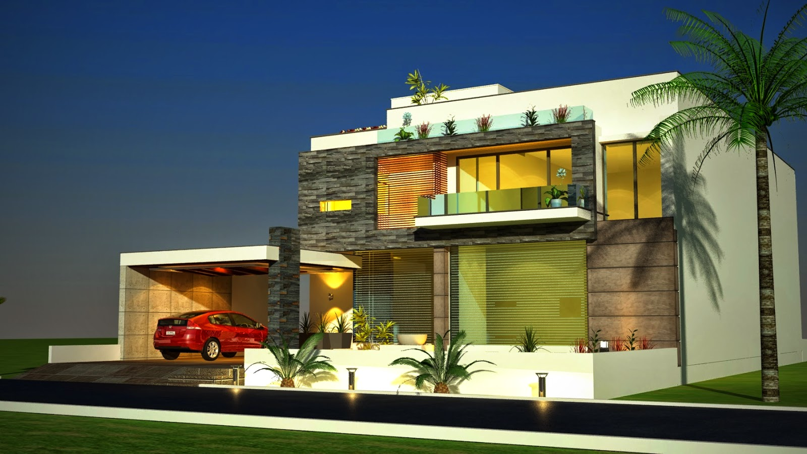 ... Modern Contemporary House Design 3D Front elevation in Pakistan 2014