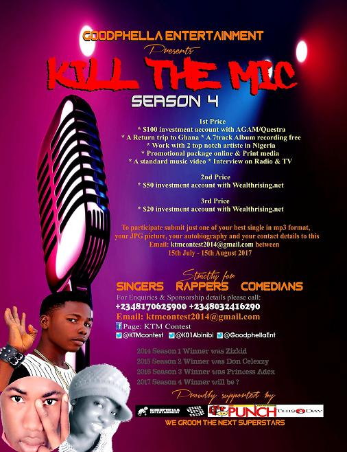 Kill The Mic Season 4 Kicks off (July 15th - August 15th, 2016) for submisson of materials
