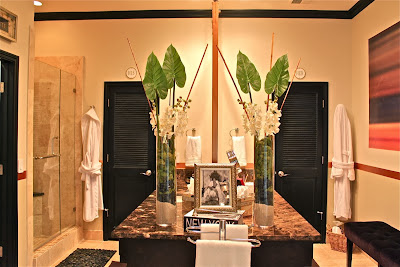 classy and luxury bathroom having marble counter top and gorgeous duo green plants