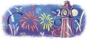 New Year 2010 Google Doodle