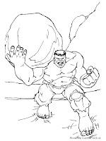 Gambar Mewarnai Hulk Mengangkat Batu
