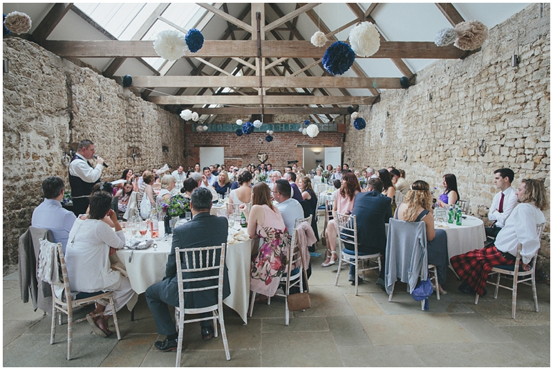 Wedding speeches in Tithe Barn