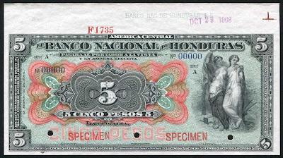 World paper money 5 pesos banknote Banco Nacional de Honduras