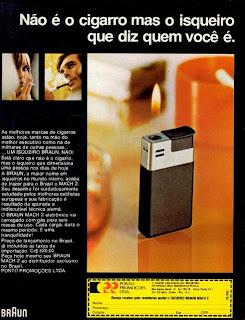 propaganda isqueiro Braun - 1975.  1975. propaganda década de 70. Oswaldo Hernandez. anos 70. Reclame anos 70