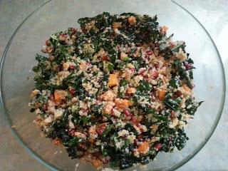 Quinoa Salad with Kale, Pomegranate Seeds, Persimmon and Cranberries