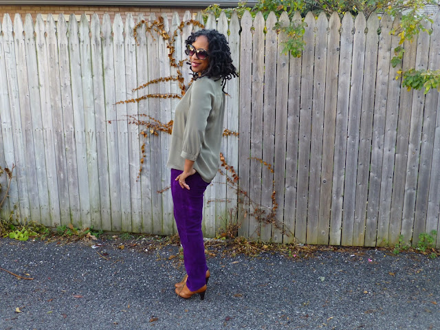 Green tunic and purple pants