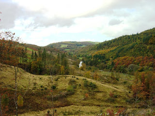 A view down The Ystwyth Valley in autumn