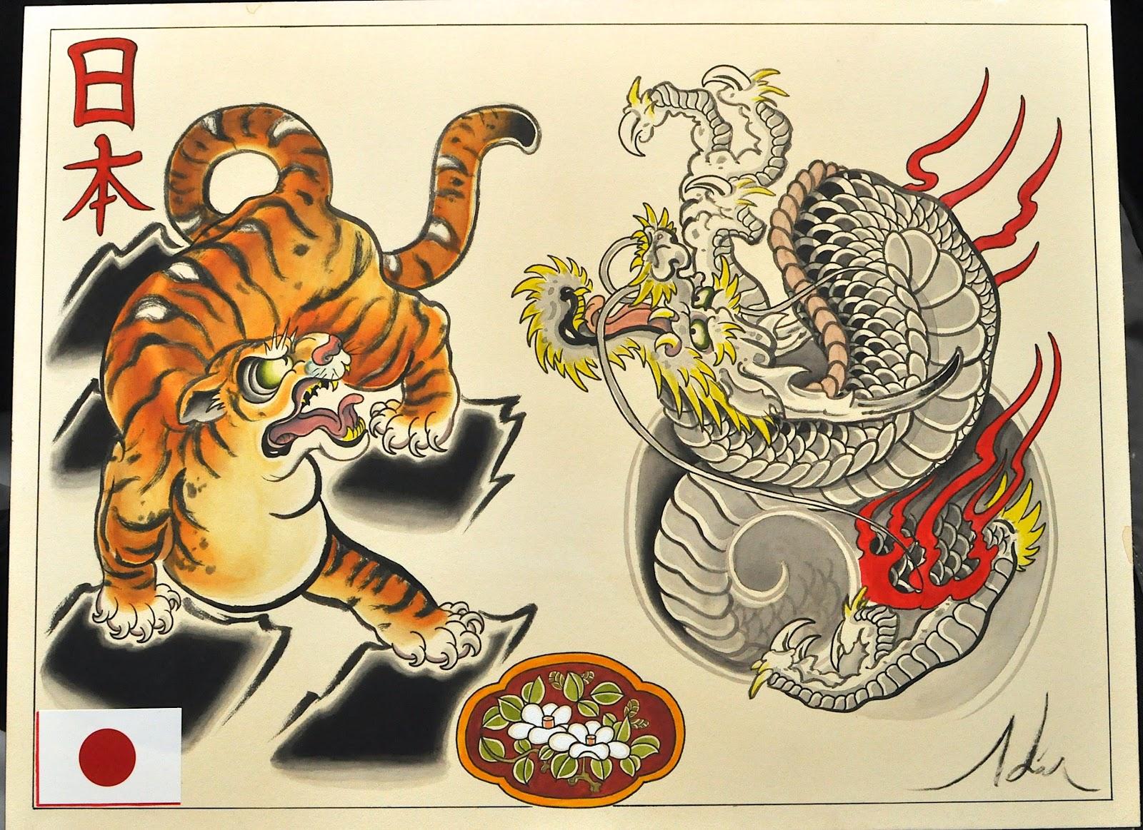 Японские тату дракон и тигр