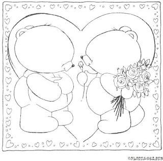 Riscos para pintura de Ursinhos românticos