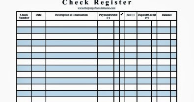 HelpingMoms@Home: Check Register Printable