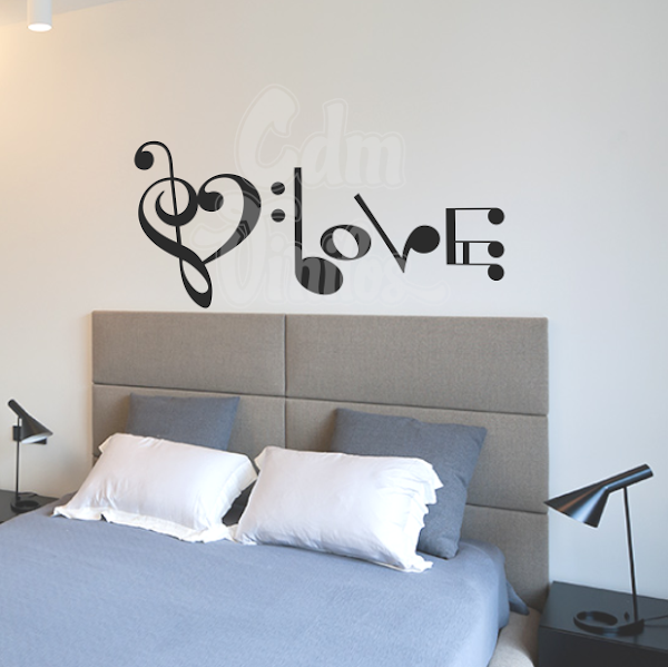 Vinilo decorativo pared clave de amor w315 cdm for Vinilos decorativos pentagrama musical