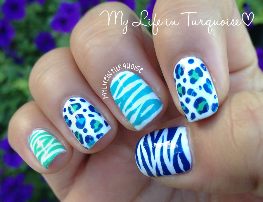 My life in turquoise zebra leopard print nail art 23 july 2013 prinsesfo Choice Image