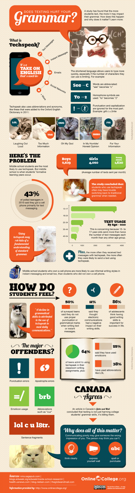 infographic texting effecting grammer