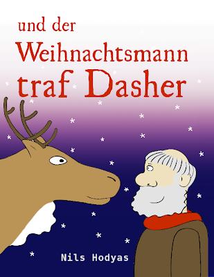 Dasher und der Weihnachtsmann lächeln sich im Schneegestöber an.